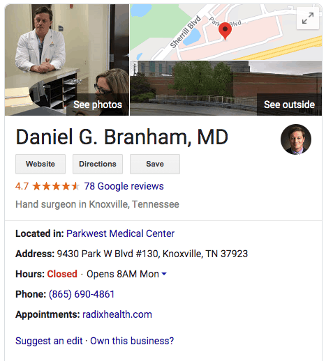 seo for doctors google my business